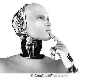gondolkodó, something., körülbelül, hím, robot