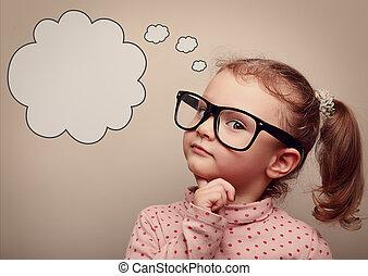 gondolkodó, szüret, above., beszéd, szemüveg, buborék, furfangos, kölyök