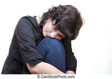 gondolkodó, szomorúság, nő, elszigetelt