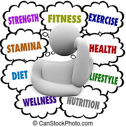 gondolkodó, wellness, diéta, személy, terv, szavak,...