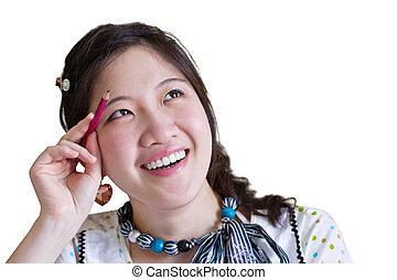 gondolkodó woman, ázsiai
