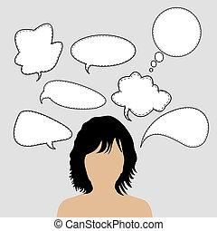 gondolkodó woman, noha, sok, gondolat