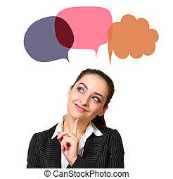 gondolkodó woman, noha, színes, diagram, panama, felül, fej