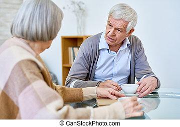 gondozás, emberek, költés, idő, otthon, idősebb ember