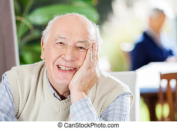 gondozás, portré saját, idősebb ember, boldog, ember