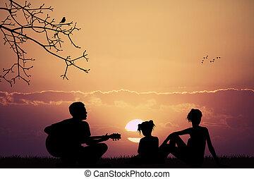 gondtalan, család, bánik, és, őt énekel