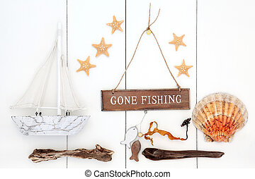 Gone Fishing Empty Desk With Gone Fishing Sign On Chair