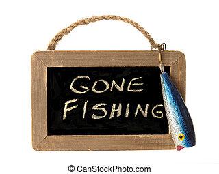 Gone fishing sign - gone fishing written on small chalk ...
