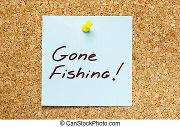 GONE FISHING! sticky note