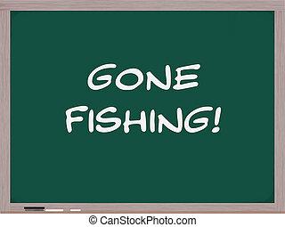 Gone Fishing written on a Blackboard