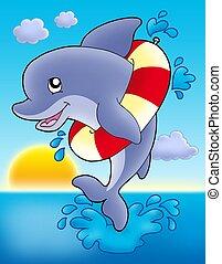 gonfiabile, saltare, delfino, anello