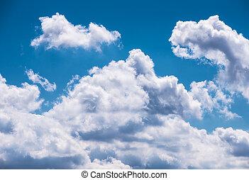 gonfio, nubi, su, blu, soleggiato, cielo