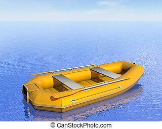 gonflable, -, bateau, render, 3d