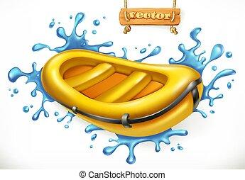 gonflable, boat., rafting blanc eau, 3d, vecteur, icône