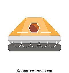 gonflable, isolé, toit, caoutchouc, blanc, Bateau