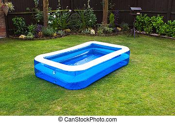 gonflable, natation, jardin, piscine, anglaise