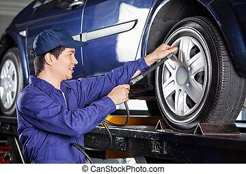 gonfler, mécanicien, pneu, voiture