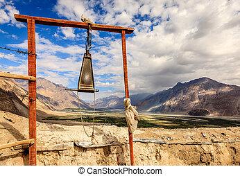 Gong at Diskit Monastery - Buddhist gong at Diskit Monastery...