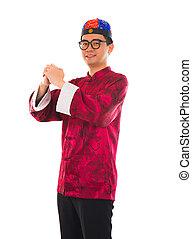 gong, chino, cheongsam, tradicional, fa, cai, xi, saludos, ...