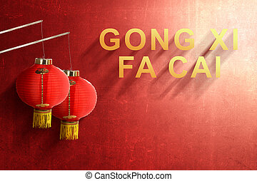 Gong Xi Fa Cai text and Chinese lanterns with red wall background