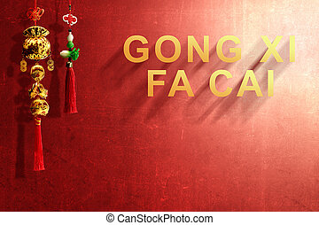 Gong Xi Fa Cai text and Chinese ornament with red wall background