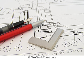 Goniometer and CAD Draw - Goniometer on a technical drawing.