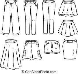 gonne, pantaloni