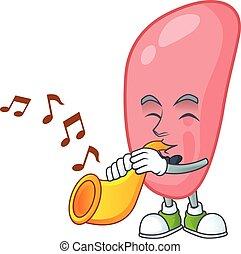 gonorhoeae, brillante, caricatura, trompeta que juega, ...