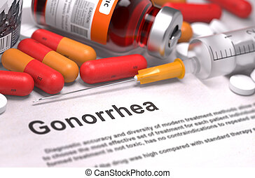 Gonorrhea Diagnosis. Medical Concept. - Gonorrhea - Printed...