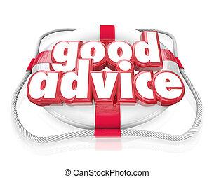 Good Advice Words Life Preserver Emergency Help Tips
