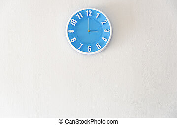 Good afternoon or after midnight with 3:00 clock on white concrete wall interior background with copy space, message board concept. 3 pm is a coffee break time in the afternoon. 3 am is the late night