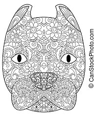 good American Pit Bull Terrier head coloring vector for adults