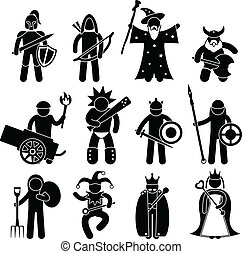 A set of pictogram representing ancient warrior character for good alliance.