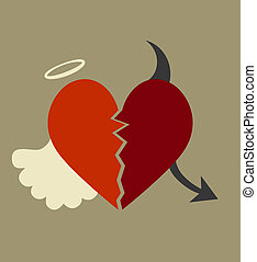 background with a heart divided between good and evil