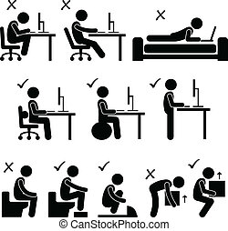 Good and Bad Human Body Posture - A set of human pictogram...