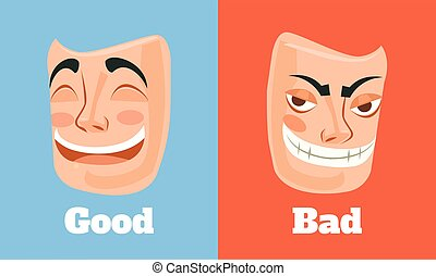 Good and bad mask. Vector flat cartoon illustration