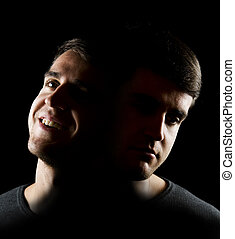 good and bad times - Double shot of a young man in the...
