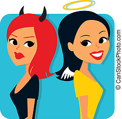 Good and Evil Girls - Humorous image of Two girls with angel...