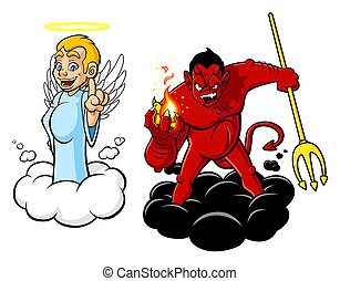 Illustration of cartoon angel and devil. The characters are isolated on white background.