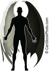 Stock vector of an Angel and the Devil