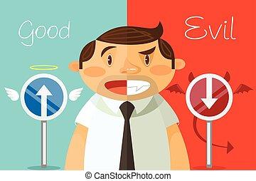 Good and evil. Vector flat cartoon