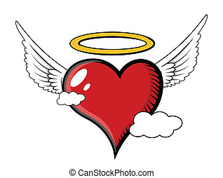 Good Angel Heart Flying in Clouds