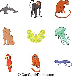 Good animal icons set, cartoon style
