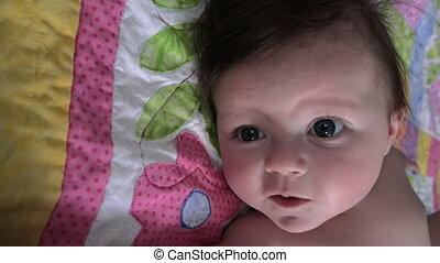 Good Baby on Handmade Blanket - A sweet child on a handmade...