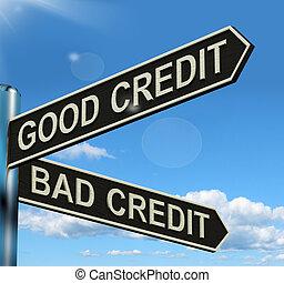 Good Bad Credit Signpost Showing Customer Financial Rating...