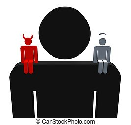Good Bad - Illustration of a person with a devil and angel...