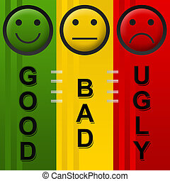 Good Bad Ugly - Image with sad, neutral and smily face in...