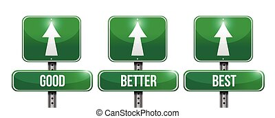 good, better, and best sign illustration