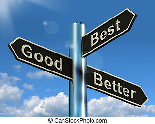 Good Better Best Signpost Representing Ratings And...