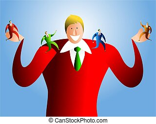 good boss - happy boss who takes care of his happy team of ...